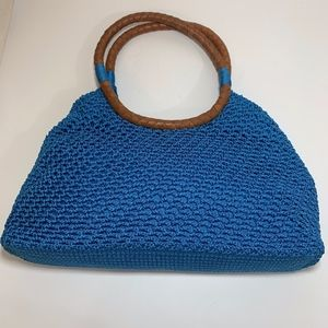The Sak Turquoise Crochet Leather Handled Bag EUC